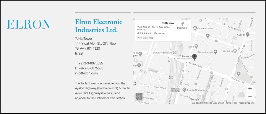 עמוד צור קשר מתוך elron.com