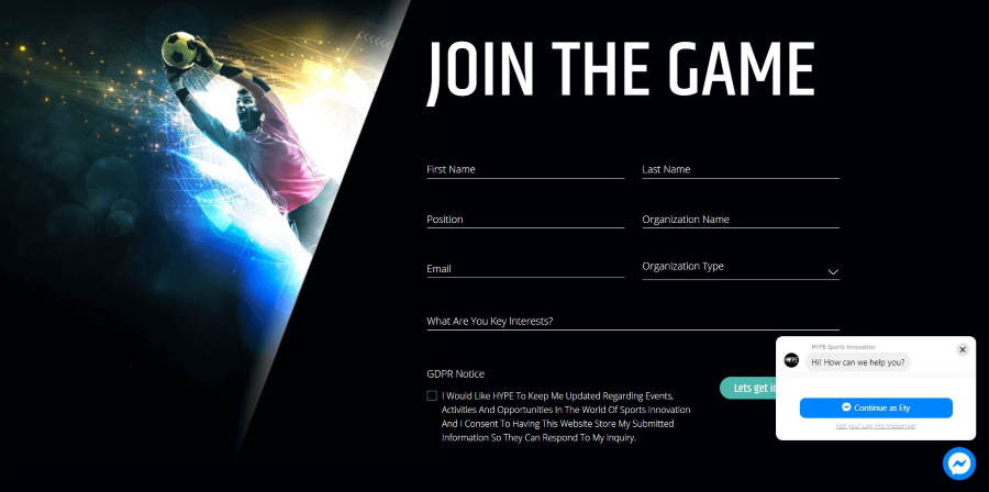 צור קשר מתוך אתר  hypesportsinnovation.com