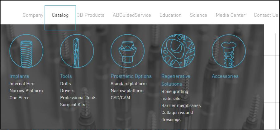 mega menu| UX design from ab-dent.com
